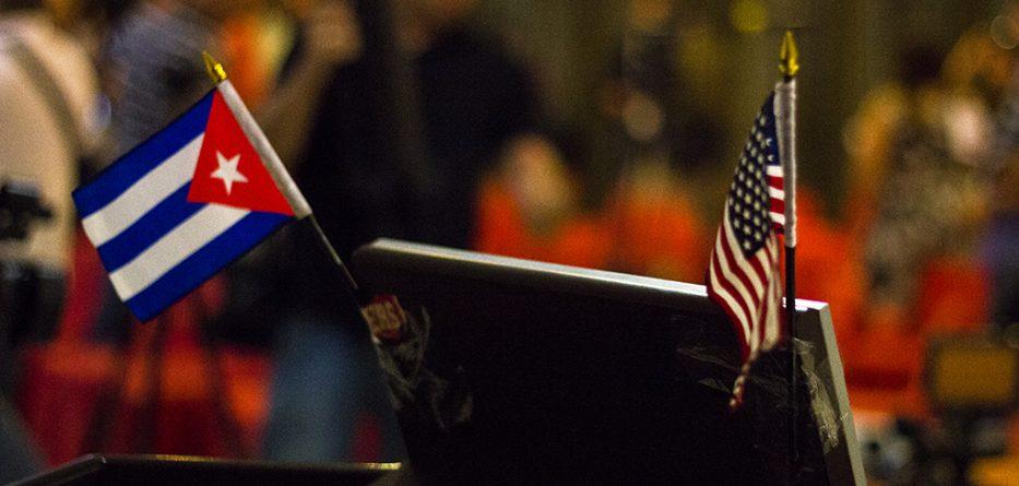 Bandera de Cuba y Bandera de EEUU