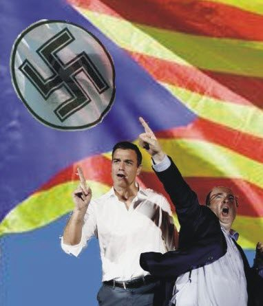 2019-12-12 Pedro sánchez Miguel Iceta señera nazi