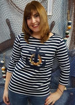 camiseta nautica rayas blancas y azules con ancla tienda online